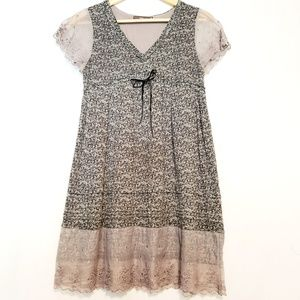 Hazel Grey Lace Cap Sleeve Dress